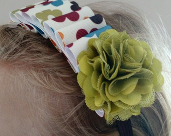 Pleated floral headband  -