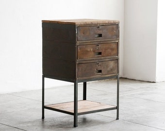 Storage Unit of Reclaimed Industrial Workbench Drawers