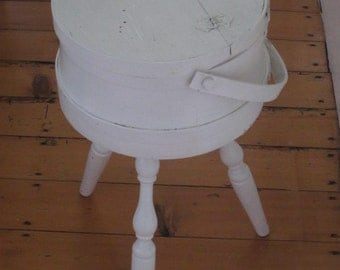 Vintage White Wood Sewing Bucket Pail with Legs