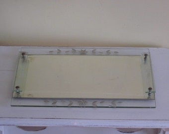 Vintage Mirrored Glass Vanity Dresser Tray