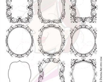 Floral Frame Wreath Foliage Clipart Commercial Use Retro Border Digital Flourish Vintage Scrapbooking Vector Transparent Middles 10127
