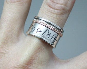 Handwriting spin ring,Personalized spinner ring,Sterling Silver Ring with Words, Names, Lyrics,Engraved ring,  worry ring,