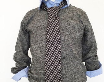 Black and Grey Houndstooth Necktie | Boys