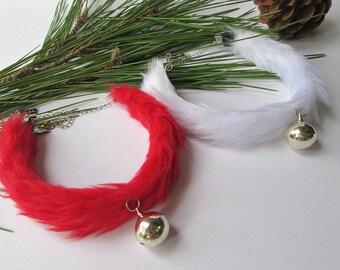 Christmas Bell Choker Fluffy Fur Christmas Necklace, Kitten Play, Girly Santa Costume, Red and White Bell Chocker Christmas Rave, Cat Choker