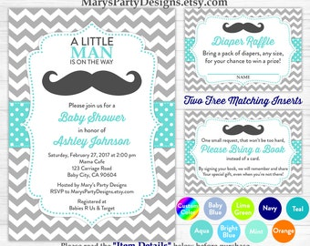 Little Man Baby Shower Invitation - Boy Baby Aqua Blue Mustache Sprinkle Free Diaper Raffle Ticket Book Request Card Personalized Printable