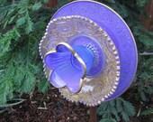 Golden Lilac Floral Filigree Hand painted Garden Art - Outside decorations, glass garden art - lawn ornament, fence decor, wall art