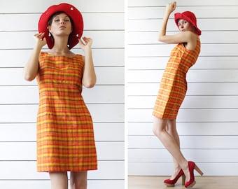 Vintage orange yellow silk sleeveless fitted midi summer dress S-M