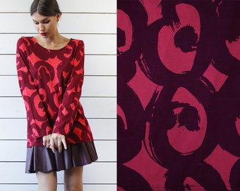 MARIMEKKO vintage red abstract graphic print cotton long sleeve blouse top L