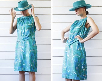 CARNEGIE of LONDON vintage turquoise green blue print pure silk sleeveless summer knee length midi dress M
