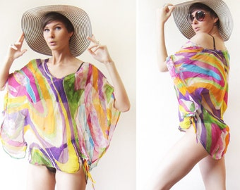 Sheer colorful sequin embroidery beach swimsuit cover up roomy top blouse