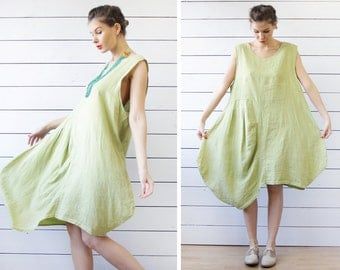 Italian vintage green linen asymmetric baggy oversize sleeveless sun ankle maxi dress L