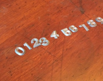 """Vintage Hardware Signage Pewter Cabinet Business Marker Sign Numbers 0 through 9 measuring 1/2"""" h x 1/4"""" w"""