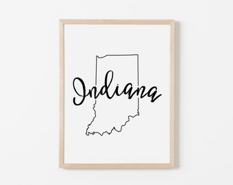 Indiana Nursery Art. Nursery Wall Art. Nursery Prints. Indiana Wall Art. State Wall Art. Indiana Nursery.