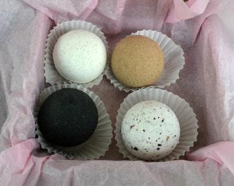 Four Flavors of Natural Bath Bombs, Save on Four, Bath Bombs, Bath Fizz, Spa gift, relaxing bomb box, Choose any Four