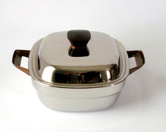 1960s Bridgeport Brass Co Copperware Stainless Covered 2 Qt Casserole Pan w Copper Handles Authentic MCM Vintage Kitchen Cookware Retro USA