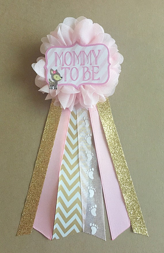 Pink gold baby deer fawn shower mommy to be flower ribbon