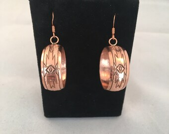 Navajo Copper Hand Stamped French Hook Earrings
