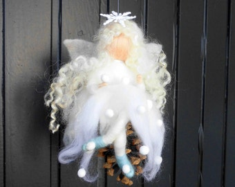 personalized snow fairy  8 inch white fairy needle felted fairy  needle craft- winter fairy gift idea felted elf