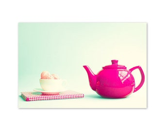 Kitchen decor, kitchen print, kitchen art, mint decor, mint and red, mint green, wall art, teapot photography, mint green decor,