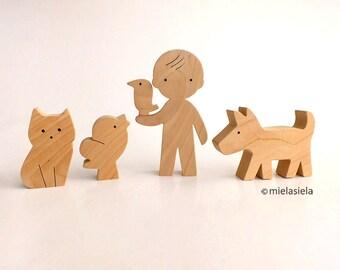Kids Wooden toy set - Boy, cat, dog and birds - Wooden animals - waldorf natural wood toy