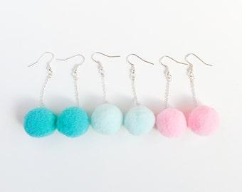 pom pom earrings baby pink-kawaii cotton candy-pale green pom pom earrings-kawaii earrings-ariana grande pompom earring-love factory NY