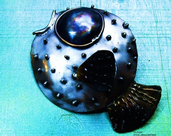 Paula the Pufferfish, hand made metal wall piece