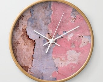 Peeling, wall clock, photograpy, peeling paint, peeling plaster, rose quartz, serenity, abstract, distressed, architecture, surface, Greece