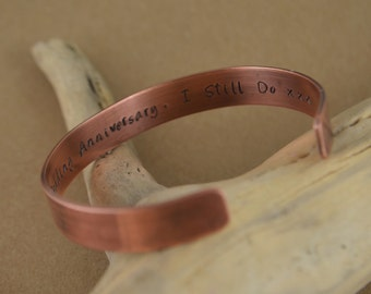 Personalized Copper Cuff Bracelet. 7th wedding anniversary. Copper. Copper anniversary. 7th anniversary gift. Copper gift. Copper present.