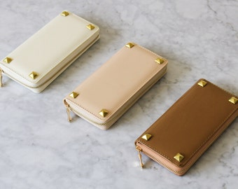 Studded Wallet Clutch - Patent Leather Nude Collection - Large Gold Studs