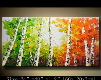 contemporary wall art, Palette Knife Painting,colorful tree painting,wall decor , Home Decor,Acrylic Textured Painting ON Canvas by Chen h98