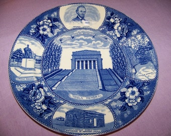 Vintage Hodgenville KY Souvenir Plate (Lincoln) with Misprint