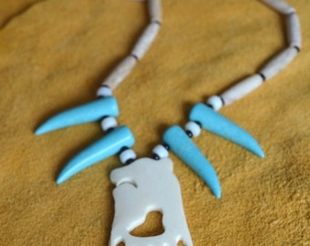 Authentic Native Made - Carved Bone - Turquoise Claw - Bear - Unisex Necklace