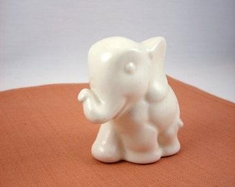 Vintage Ceramic White Elephant Figurine