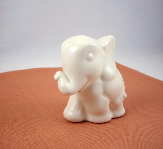 Vintage Finland Ceramic White Elephant Figurine