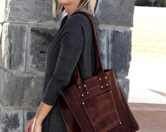 Large Distressed Leather Tote* The Fat Sak* Large Leather Handbag* Large Leather BoHo Bag* Big Leather Bag* Handmade in the USA