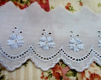 5 Yards 60 mm Wide Vintage Lace Ribbon Trim Embroidered Eyelet Powder Blue Cotton Lace with Scallop Edge and Flower Design