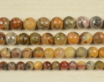 15 inch strand of Multicolor crazy lace agate 128 faceted round beads 6mm 8mm & 10mm for choose