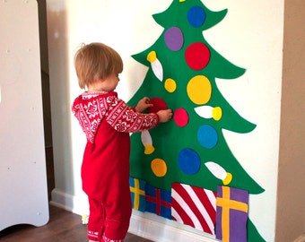 SALE Felt Christmas Tree - 3ft tall - Felt Story - Quiet Toys - Quiet Book - Montessori Felt Board