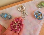rhinestone brooches, lot of five pins