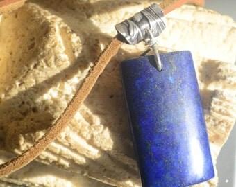 OOAK Lapis Lazuli Dog Tag Pendant Repurposed Antique Sterling Silver 925 Genuine Leather Necklace Artisan Handmade Metaphysical Energy .925