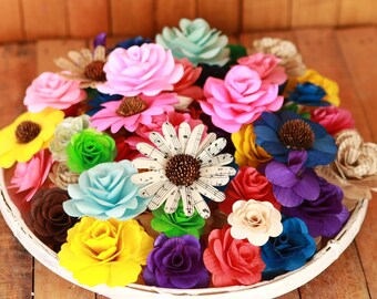 Wood and Paper Flowers- 75 pcs - Assorted Colors - for Weddings, Home Decorations, Scrapbooking and Floral Arrangements