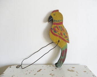Vintage french wooden toy, 1920, Handmade, Parrot, Farm animal, Toy, Animaux bois, Rustic children room, Country house, France