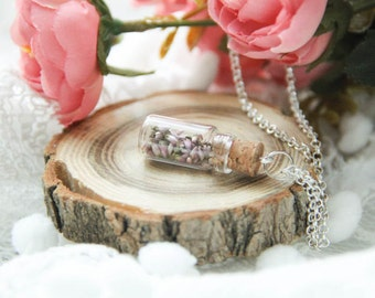 Botanical vial necklace preserved specimen corked top romantic heather, Perfume bottle, Glass Perfume Bottle, Gift For Her
