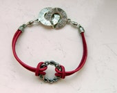 Natural Magenta Red Leather Cording Twisted Silver Wreath Bracelet - Inspired by The Shannara Chronicles