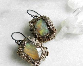 SALE moonstone earrings, silver earrings, druzy earrings, druzy, silver druzy, rainbow moonstone, dangle earrings, drop earrings, mango