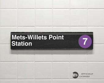 Mets-Willets Point Station - New York City Subway Sign - Wood Sign