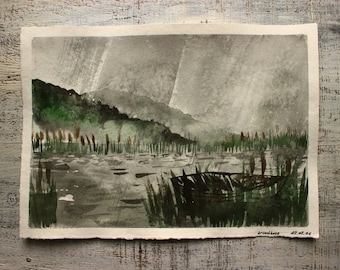 Rainy morning original watercolor painting 10x14 green grey brown water lake river fishing