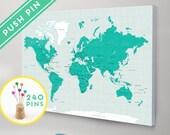 World Push Pin Travel Map CANVAS Choose Color - Countries, Capitals, USA and CANADA states  - Push Pin Travel Map, 240 Pins