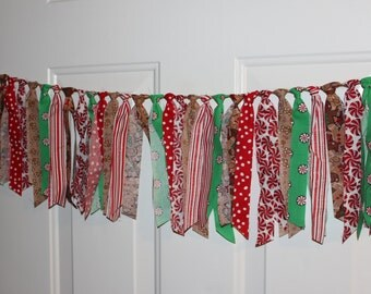 SALE Christmas Candy Cane Gingerbread Fabric Garland Rag Tie Banner Party Decoration, Photo Prop Backdrop