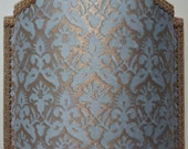 Wall Light Venetian Lamp Shade Fortuny Fabric Aquamarine & Silvery Gold Delfino Pattern - Handmade in Italy